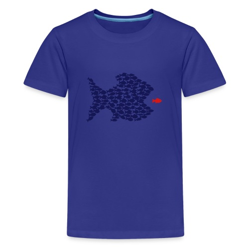 t-shirt fish swarm puffer fish blowfish pregnant hunt hunter ocean hunting fishing - Kids' Premium T-Shirt