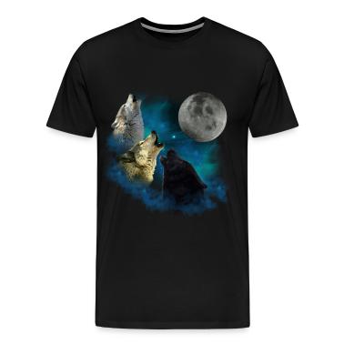 Northern Lights Wolfs Howling T-Shirts