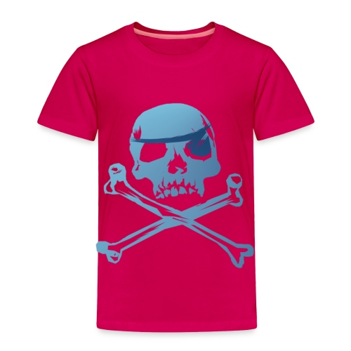 Blue Pirate Skull And Crossbones - Toddler Premium T-Shirt