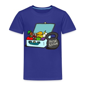 Paleo Toddler's Primal Kitchen T-shirt Featuring Lunchbox and Kettlebell - Toddler Premium T-Shirt