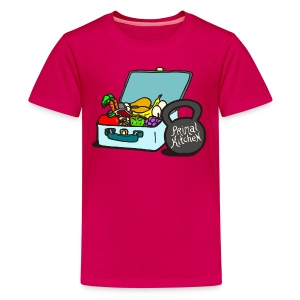 Paleo Child's Primal Kitchen T-shirt Featuring Lunchbox and Kettlebell - Kids' Premium T-Shirt