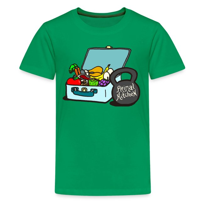 Paleo Child's Primal Kitchen T-shirt Featuring Lunchbox and Kettlebell