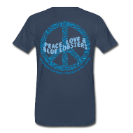 T-Shirts ~ Men's Premium T-Shirt ~ Peace Love & Blue Lobsters - back