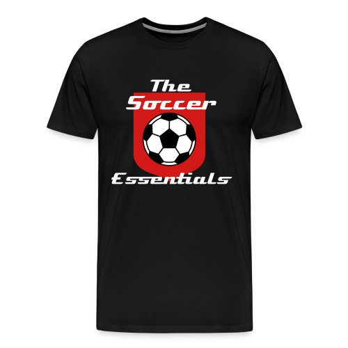 The Soccer Essentials Soccer T-Shirt Black and Red - Men's Premium T-Shirt