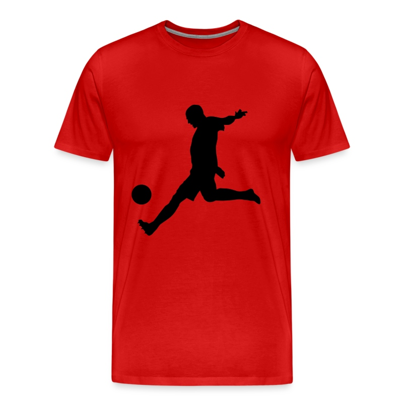 Soccer Shot T-Shirt Red and Black - Men's Premium T-Shirt