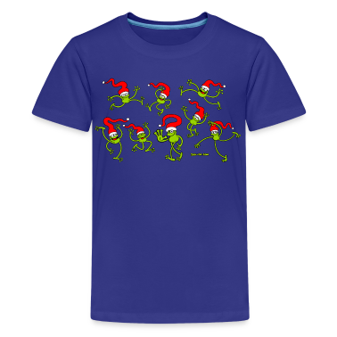 Christmas Frogs, dancing, jumping and celebrating! Kids' Shirts