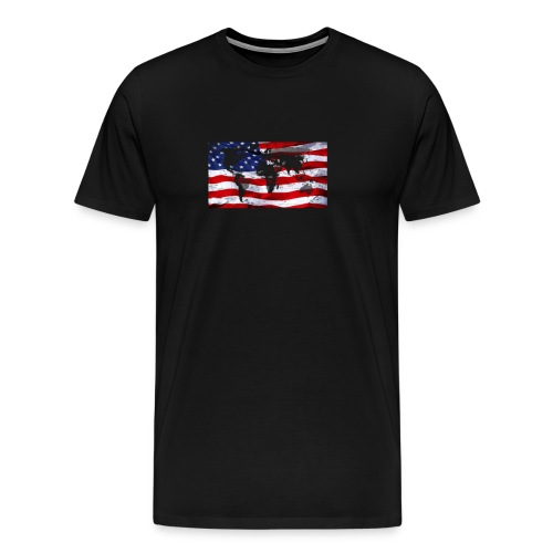 United States Flag World Map  - Men's Premium T-Shirt
