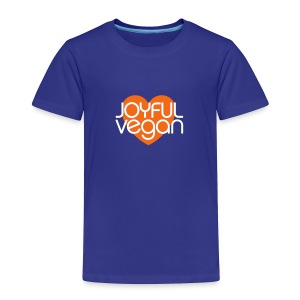 Children's Joyful Vegan Heart Blue Tee with Orange Heart - Toddler Premium T-Shirt
