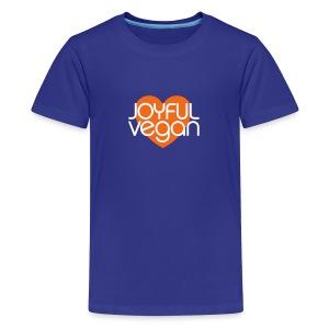 Children's Joyful Vegan Blue Shirt/Orange Heart - Kids' Premium T-Shirt