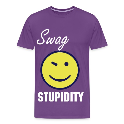 Swag Stupidity Smiley Face Tee - Men's Premium T-Shirt