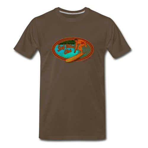 Classic Hawaiian Hand Made T-shirt Surfing Design - Men's Premium T-Shirt