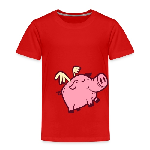 Toddler Premium T-Shirt - This cute flying pig is an element of a larger design called The Fourth Little Piggie. Cincinnati, OH is home to flying pigs and the maker of this design, CityStateTees.com