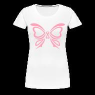 T-Shirts ~ Women's Premium T-Shirt ~ Pink Ribbon Butterfly Women's Plus Size Tee