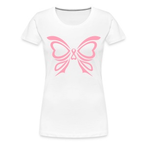 Pink Ribbon Butterfly Women's Plus Size Tee - Women's Premium T-Shirt
