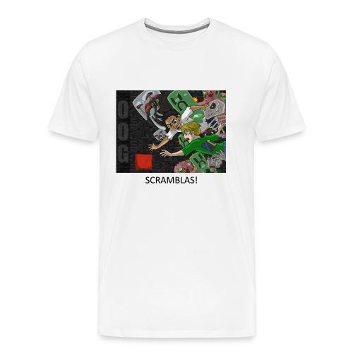 SCRAMBLAS! - Anime White Heavy Weight - Men's Premium T-Shirt