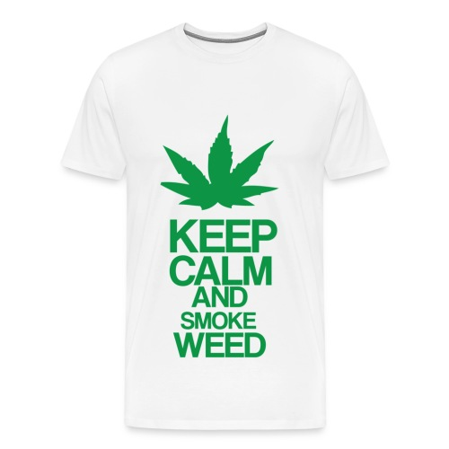 Men's Heavyweight T-Shirt - Keep Calm and Smoke Weed - Men's Premium T-Shirt