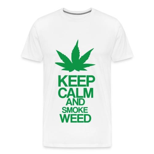 Men's Heavyweight T-Shirt - Keep Calm and Smoke Weed - Men's Premium T-Shirt