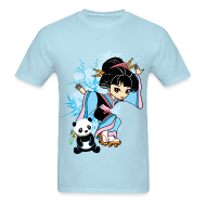 T-Shirts ~ Men's T-Shirt ~ Cartoon Kawaii Geisha Panda Men's T-shirt by Banzai Chicks