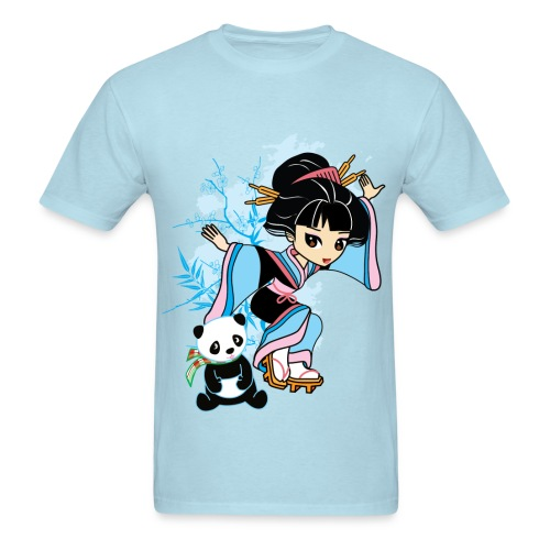 Cartoon Kawaii Geisha Panda Men's T-shirt by Banzai Chicks - Men's T-Shirt