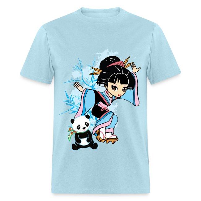 Cartoon Kawaii Geisha Panda Men's T-shirt by Banzai Chicks