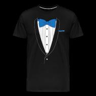 T-Shirts ~ Men's Premium T-Shirt ~ Tuxedo T Shirt Classic Blue Tie