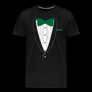 T-Shirts ~ Men's Premium T-Shirt ~ Tuxedo T Shirt Classic Green Tie