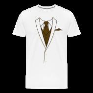 T-Shirts ~ Men's Premium T-Shirt ~ Tuxedo T Shirt Cream Long Tie