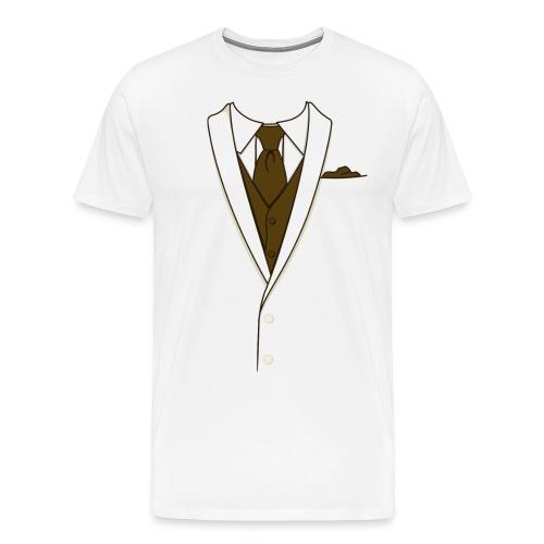 Tuxedo T Shirt Cream Long Tie - Men's Premium T-Shirt