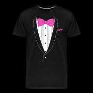 T-Shirts ~ Men's Premium T-Shirt ~ Tuxedo T Shirt Classic Pink Tie