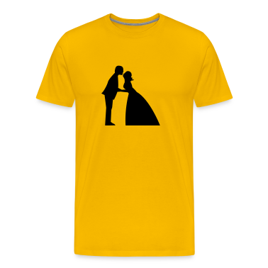Wedding kiss in bridal gown  and suit T-Shirts