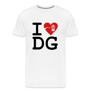 I Love Disc Golf Adult White T-shirt - Men's Premium T-Shirt
