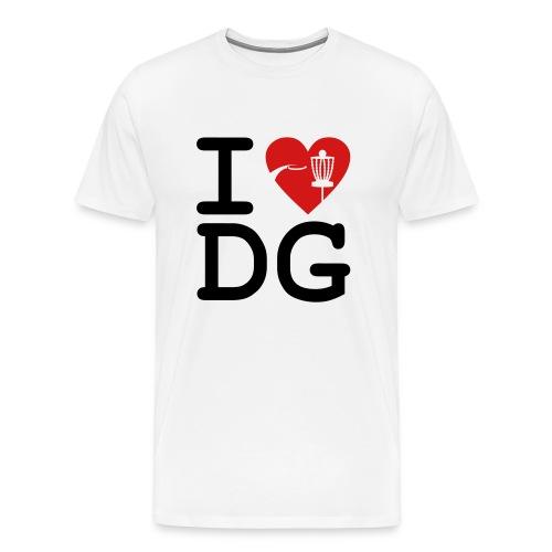I Love Disc Golf Adult White T-shirt - Men's Premium T-Shirt