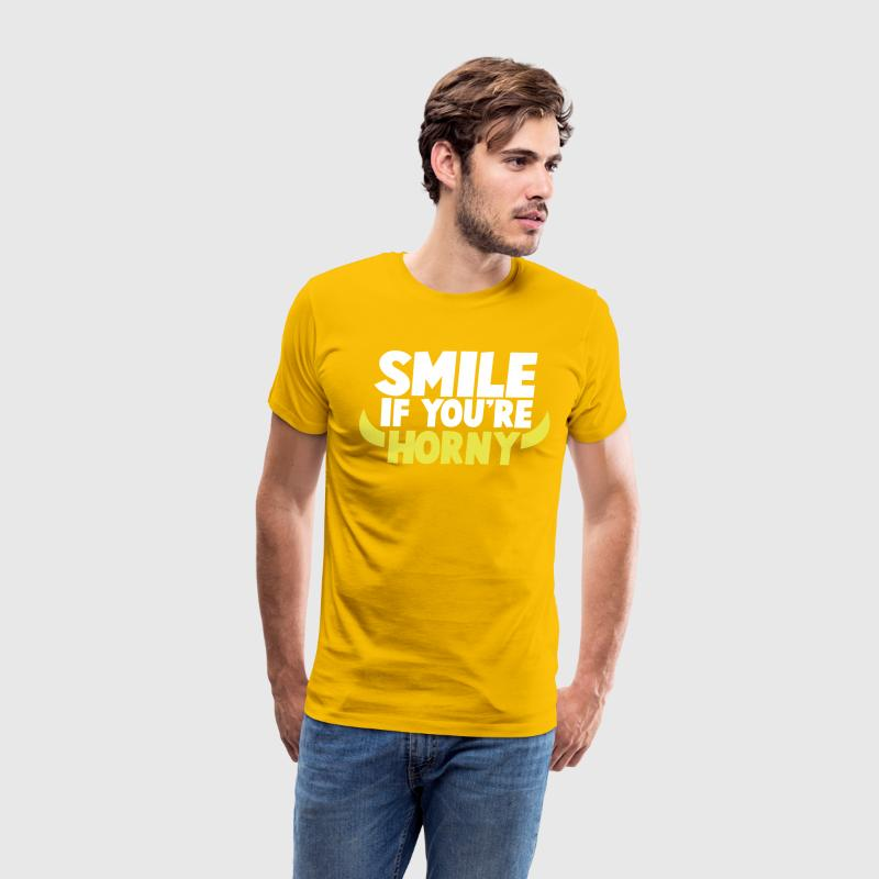 SMILE IF YOU'RE HORNY with devil horns T-Shirts - Men's Premium T-Shirt