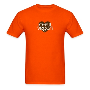 Men's Orange Joyful Vegan Shirt with Brown Heart - Men's T-Shirt