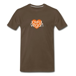 Men's Joyful Vegan Shirt - Dark with Orange Heart - Men's Premium T-Shirt