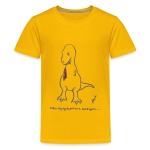 T-Rex Trying Cardigan (Kids) - Kids' Premium T-Shirt