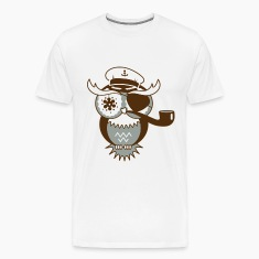 An owl with captain's hat, eye patch and pipe tobacco T-Shirts