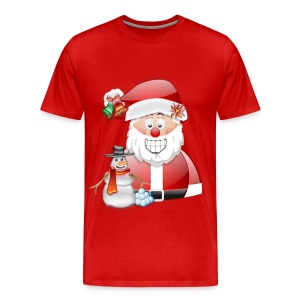 Father Christmas and Snowman with Snowballs - Men's Premium T-Shirt