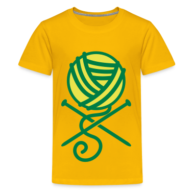 knitting needles and wool like crossbones- for the love of CRAFT Kids' Shirts