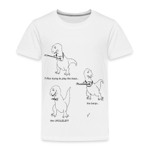 T-Rex Trying Ukulele (Toddler T-Shirt) - Toddler Premium T-Shirt