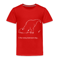 Baby & Toddler Shirts ~ Toddler Premium T-Shirt ~ T-Rex Down Dog White Design (Toddler)
