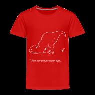 Baby & Toddler Shirts ~ Toddler Premium T-Shirt ~ T-Rex Down Dog White Design (Toddler)