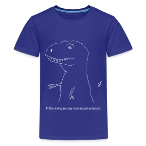 T-Rex Rock Paper Scissors White (Kids) - Kids' Premium T-Shirt