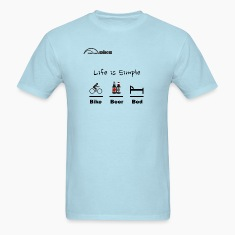 Cycling T Shirt - Life is Simple - Bike - Beer - Bed