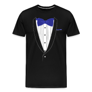 T-Shirts ~ Men's Premium T-Shirt ~ Tuxedo T Shirt Classic Navy Tie