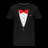 T-Shirts ~ Men's Premium T-Shirt ~ Tuxedo T Shirt Classic Red Tie
