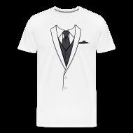 T-Shirts ~ Men's Premium T-Shirt ~ Tuxedo T Shirt White Long Tie