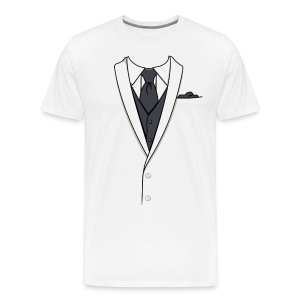 Tuxedo T Shirt White Long Tie - Men's Premium T-Shirt