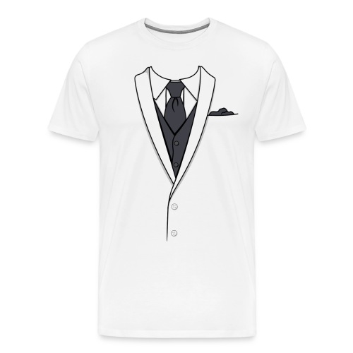 Tuxedo T Shirt White Long Tie - Men's Premium T-Shirt