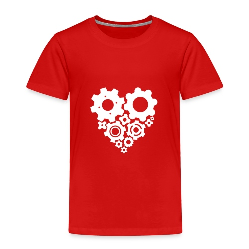 White Gear Heart - Pick your own  shirt color! - Toddler Premium T-Shirt